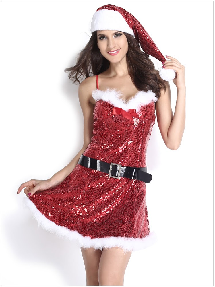 Discount  High Quality Woman Sexy Lingerie Beading Christmas Mini Dress Babydoll Exotic Cosplay Party Costume