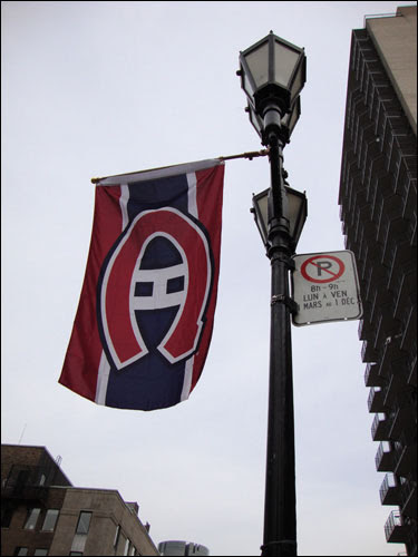 Montreal Canadiens flag on Crescent Street