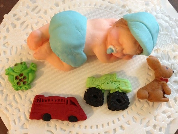 Large Baby Boy Sleeping after Playing hard. Birthday, Baptism, Baby Shower, Cake Topper