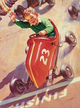 Boy In Red Go-cart