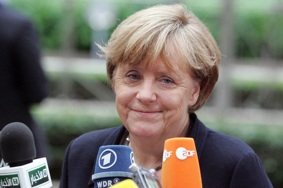German Chancellor Angela Merkel at an emergency summit of eurozone leaders in Brussels on Tuesday.