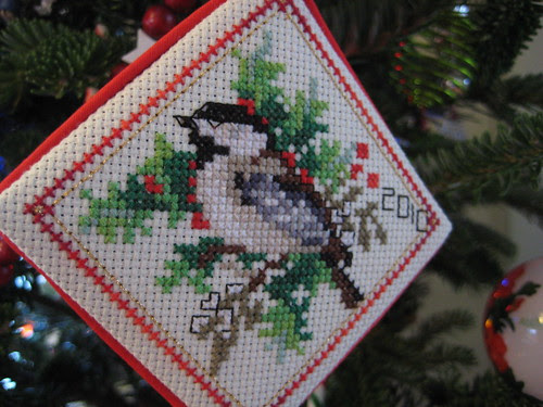 Chickadee xstitch ornament