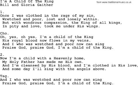Child Of The King Lyrics Gaither