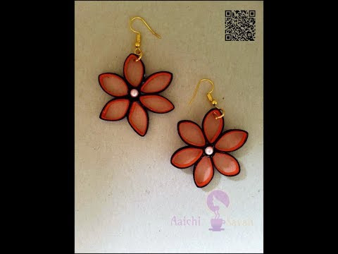 6-Petal Red Flower Quilling Earring