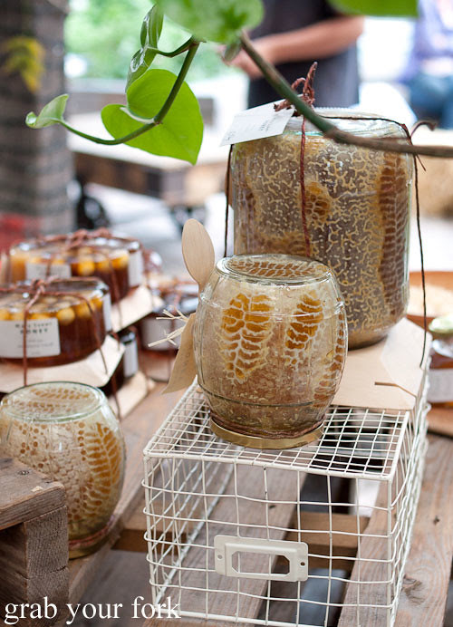 raw honeycomb jar by maya sunny honey at the grounds of alexandria markets