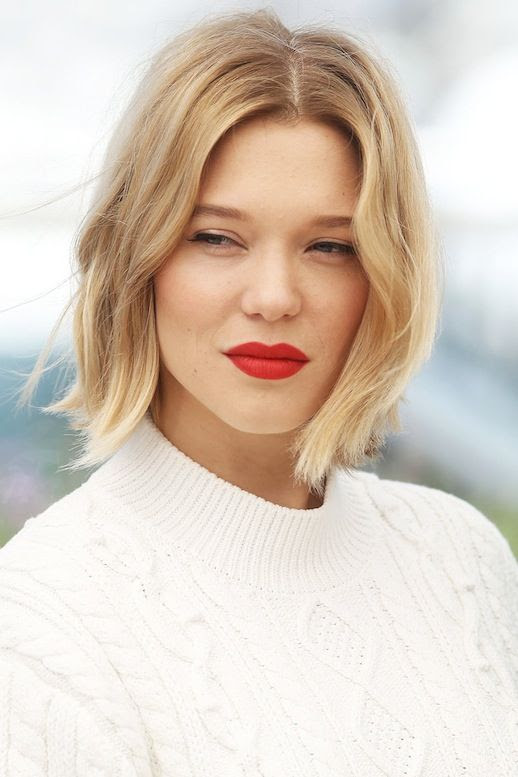 Le Fashion Blog Fall Makeup Beauty Blonde Lob  Hairstyle Bright Red Lipstick White Ribbed Mock Neck Cable Sweater Via Harpers Bazaar