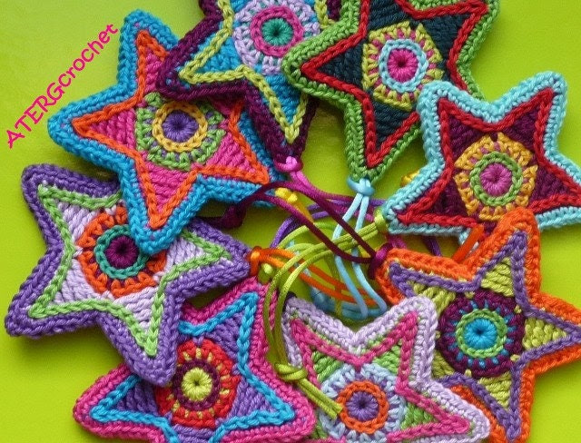 Crochet pattern colorful star by ATERGcrochet