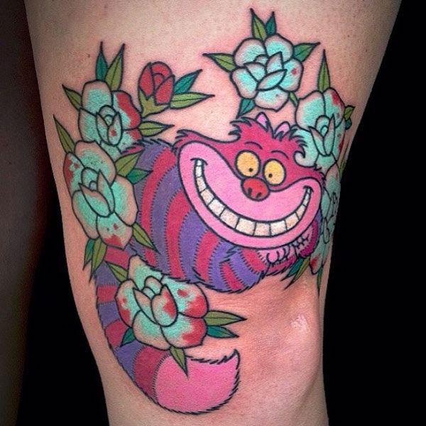 Cheshire Cat With Flowers Tattoo