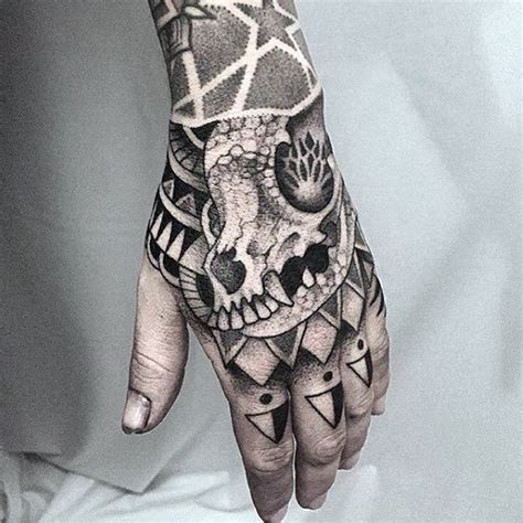 geometric hand tattoos men pattern design ideas