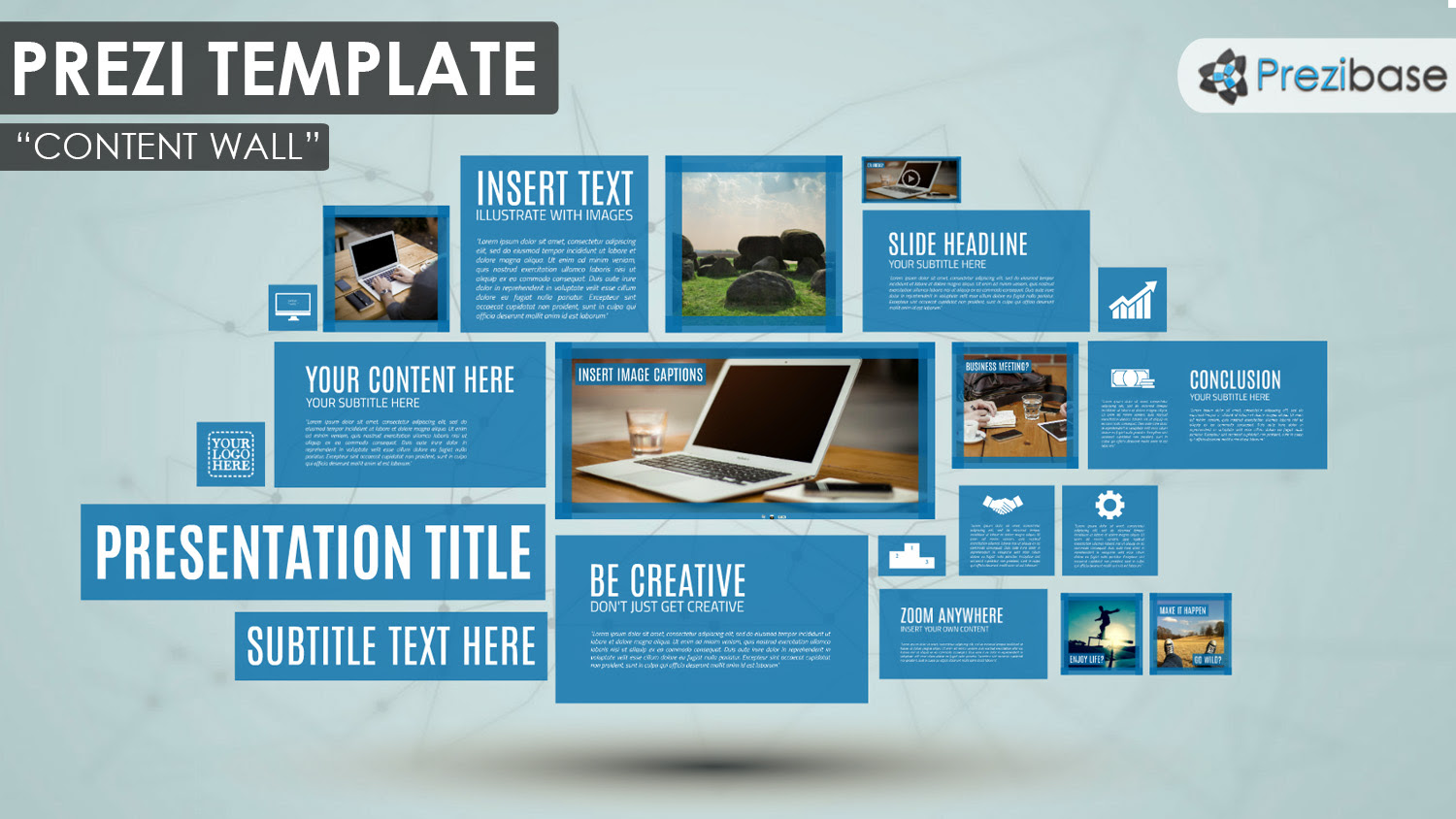 content wall creative tiles rectangles windows simple professional prezi templateS