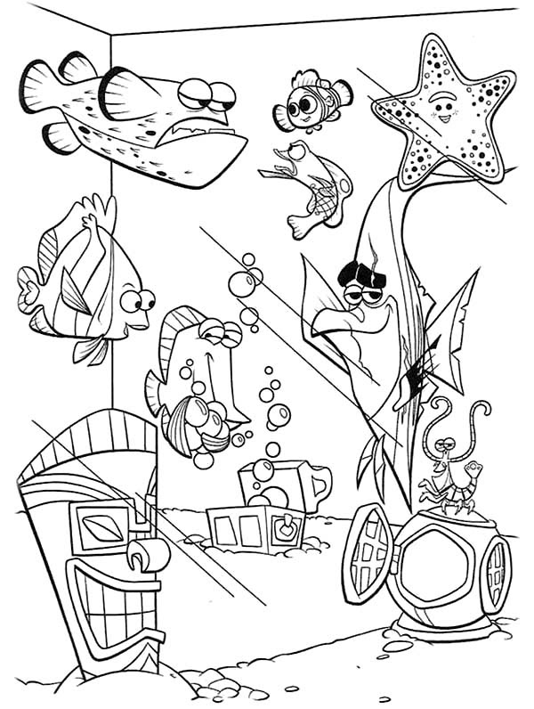 Finding Nemo Fish Tank Coloring Page - NetArt