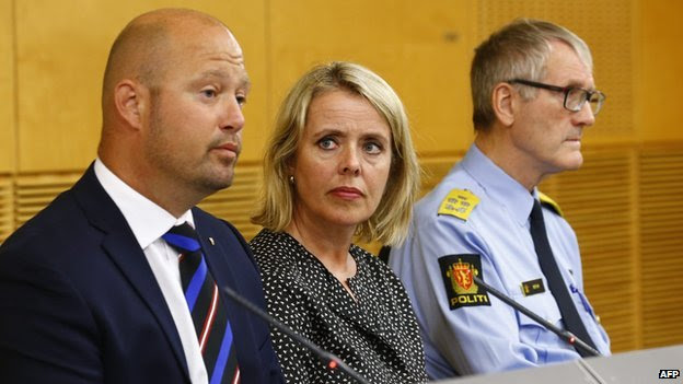 Norway's security services PST's chief Benedicte Bjoernland (centre) announced a national security alert