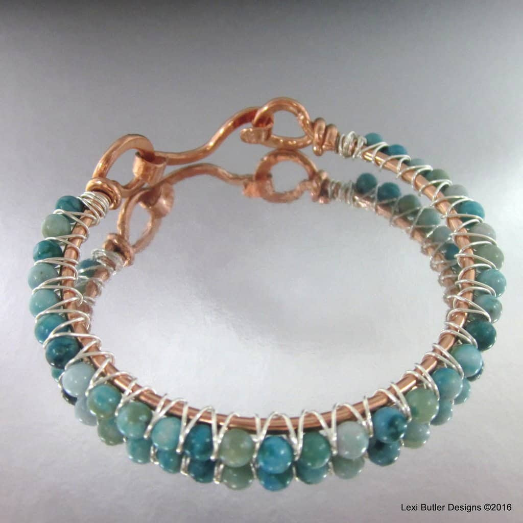 Sterling Silver Criss Cross Wire Wrap Turquoise Bangle, Lexi Butler Designs