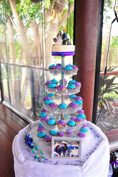 Purple and turquoise wedding cupcakes   Double choc mud