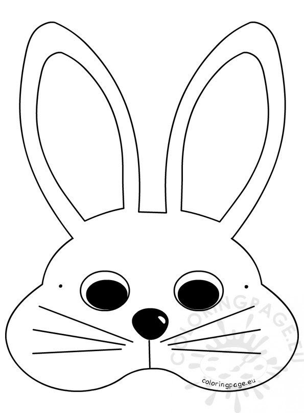 White Easter Bunny Mask Craft Ideas - Coloring Page