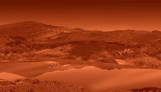 Imagen artística de un lago en Titán