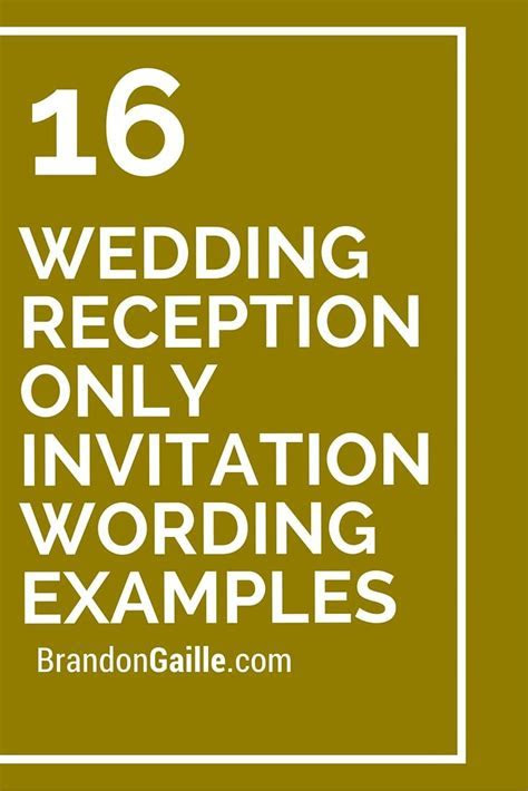 16 Wedding Reception Only Invitation Wording Examples