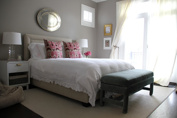 Master bedroom painted in Benjamin Moore Plymouth Rock.  #plymouthrock #valleyforgetan #benjaminmoore