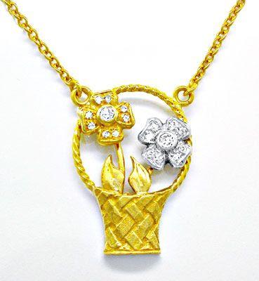 Foto 1, Diamant-Blütenkorb-Kollier 18K/750 1A-Handarbeit Luxus!, S8704