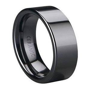 Black Ceramic Wedding Ring For Men, Polished Flat Profile, 6mm