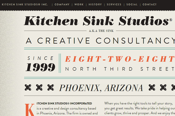 kitchen sink studios website layout retro