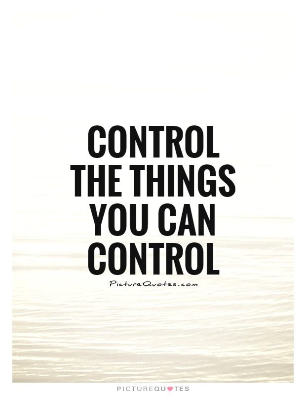 Control The Things You Can Control Picture Quotes