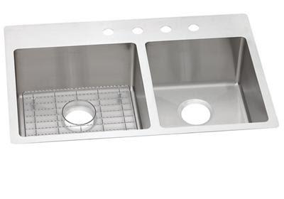 Elkay Crosstown Stainless Steel 33 X 22 X 9 6040 Double Bowl Dual Mount Sink Kit Elkay
