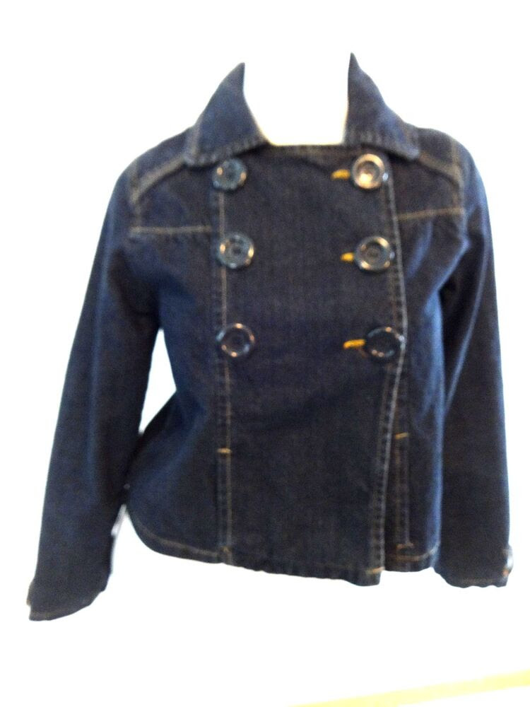nobo womens dark wash denim blue jean jacket peacoat size