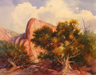 Roland Lee watercolor painting of Zion National Park Kolob Fingers Section