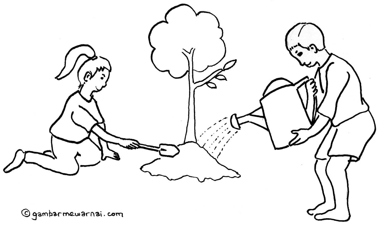 Mewarnai Gambar Menjaga Kelestarian Lingkungan Gambar