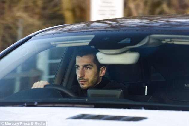 Henrikh Mkhitaryan arrived United's training ground as he prepares for his move the other way