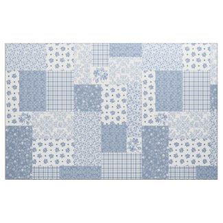 Nostalgic Indigo Blue Faux Patchwork Fabric