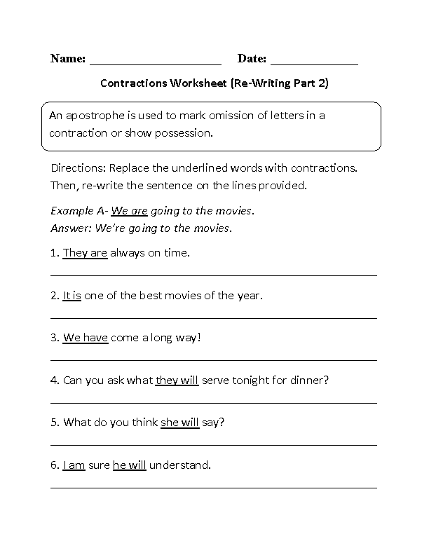 Englishlinx Com Contractions Worksheets