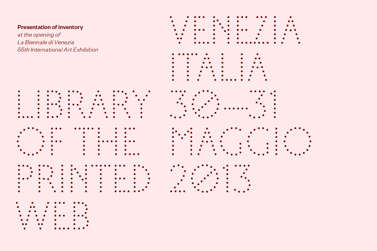 Library of the Printed Web in Venice. Presentation and talk at the opening of La Biennale di Venezia, 55th International Art Exhibition.  Featuring web-to-print work by Penelope Umbrico, Joachim Schmid, David Horvitz, Mishka Henner, Guthrie Lonergan, Lauren Thorson, Clement Valla, Elisabeth Tonnard, Jason Huff, Silvio Lorusso, Stephanie Syjuco, Federico Antonini, Jonathan Lewis, Andreas Schmidt, Doug Rickard, Heidi Neilson, John Zissovici and many more.  Curated by Paul Soulellis. The Book AffairBiblioteca CastelloS. Lorenzo-Castello 5065Venice, Italy30–31 May 2013 Twitter @printedweb More details at Soulellis.com