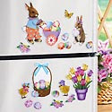 Easter Bunnies & Eggs Decorative Kitchen Magnets Set