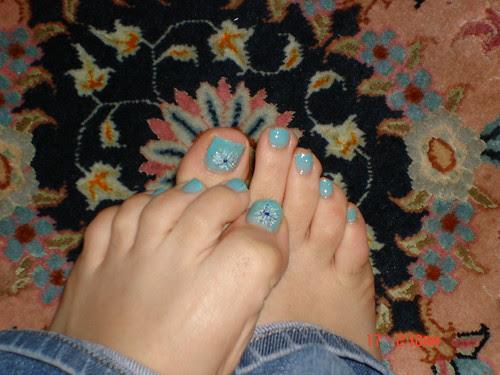 Blue Toe nails art design for Xmas dan new year