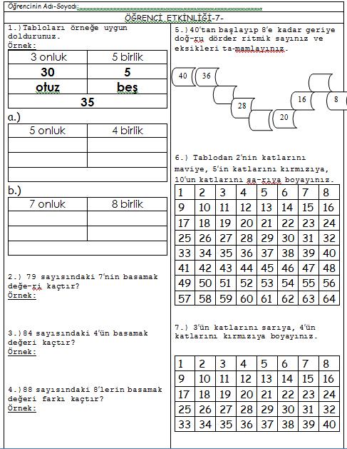 3 Sınıf Matematik Dersi Tekrar Etkinlik Kağıdı 7 Tatil çalışması