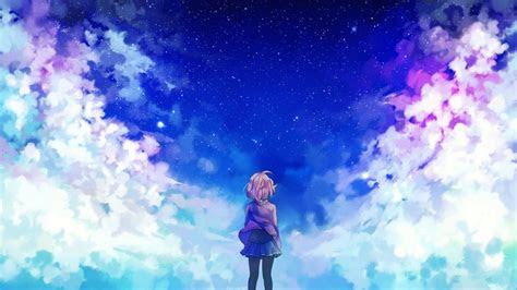 wallpaper sunlight anime girls sky stars clouds