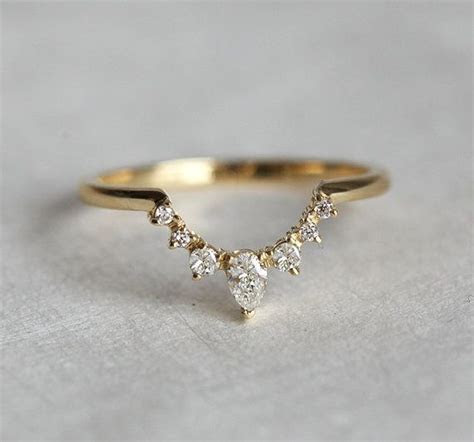 Diamond Wedding Band Diamond Crown Ring Curved by
