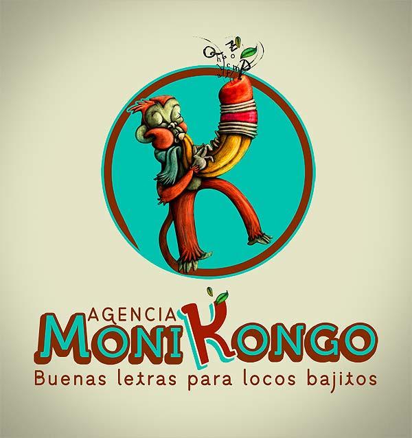 Logotipo ilustrado. Monikongos por Hache Holguín