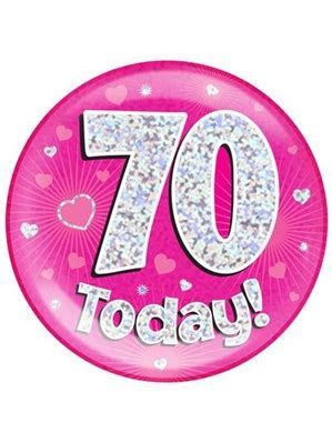 Pink 70th Birthday Holographic Jumbo Badge