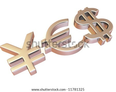 stock photo : YES from signs yen, dollar and euro. 3d