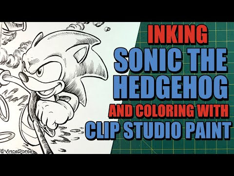 Inking Sonic the Hedgehog (on paper) and Coloring it in ...