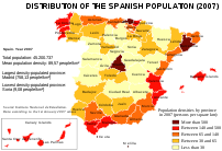 Map of Spain showing the population densities ...