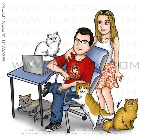 Ilustração, desenho família casal com gatos, rafael, agatha, gatos persas, Harry Potter, Yanka Augusta, Morgana, Marry, ilustração by ila fox