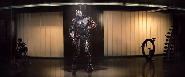 An Ultron-type robot enters the room in 2015's AVENGERS: AGE OF ULTRON.