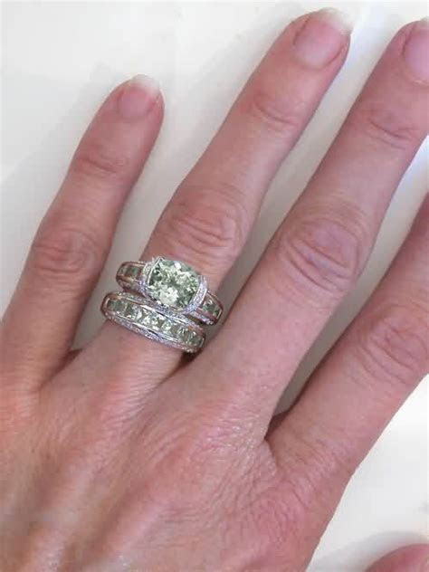 Unique Green Amethyst Diamond Bridge Engagement Ring in