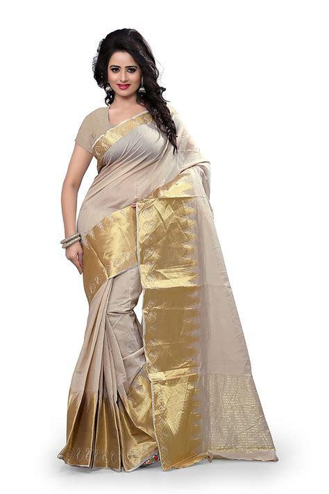 Buy Shree Sanskruti Self Designer Cotton Sari With Golden