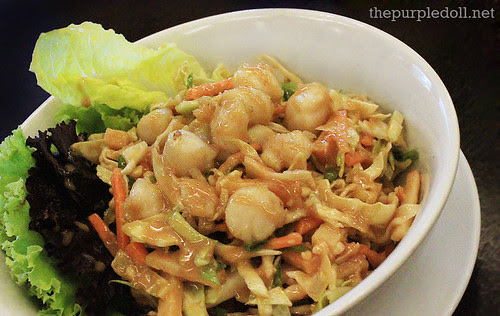 Heart of Palm and Peanut Butter Slaw with Sauteed Scallops