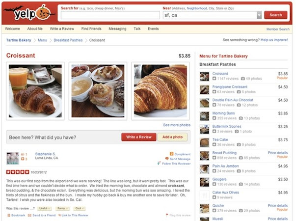 Yelp's new pictureheavy menus give you a better look at that Baby Back Rib Tickler